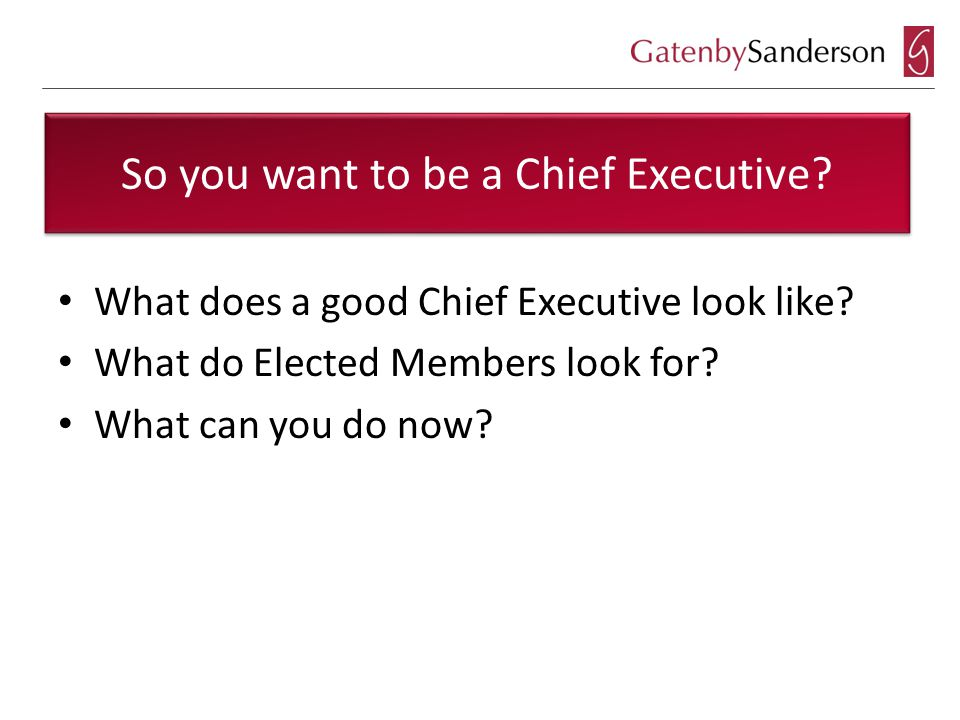 So you want to be a Chief Executive.What does a good Chief Executive look like.