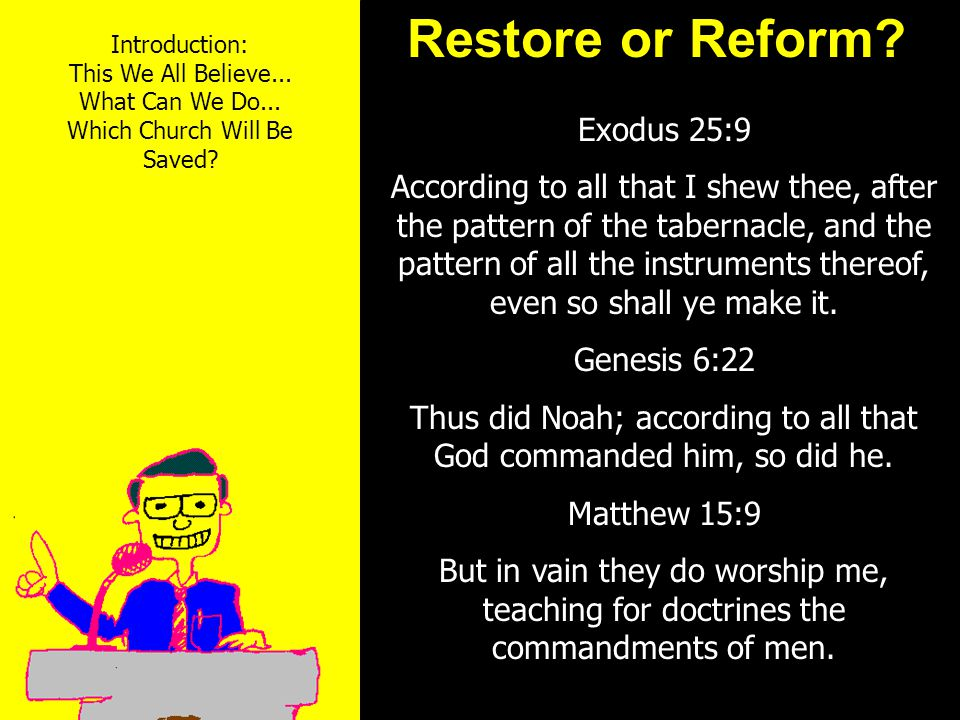 11am How to Call 11:15am Discussion 12pm Summary Restore or Reform.