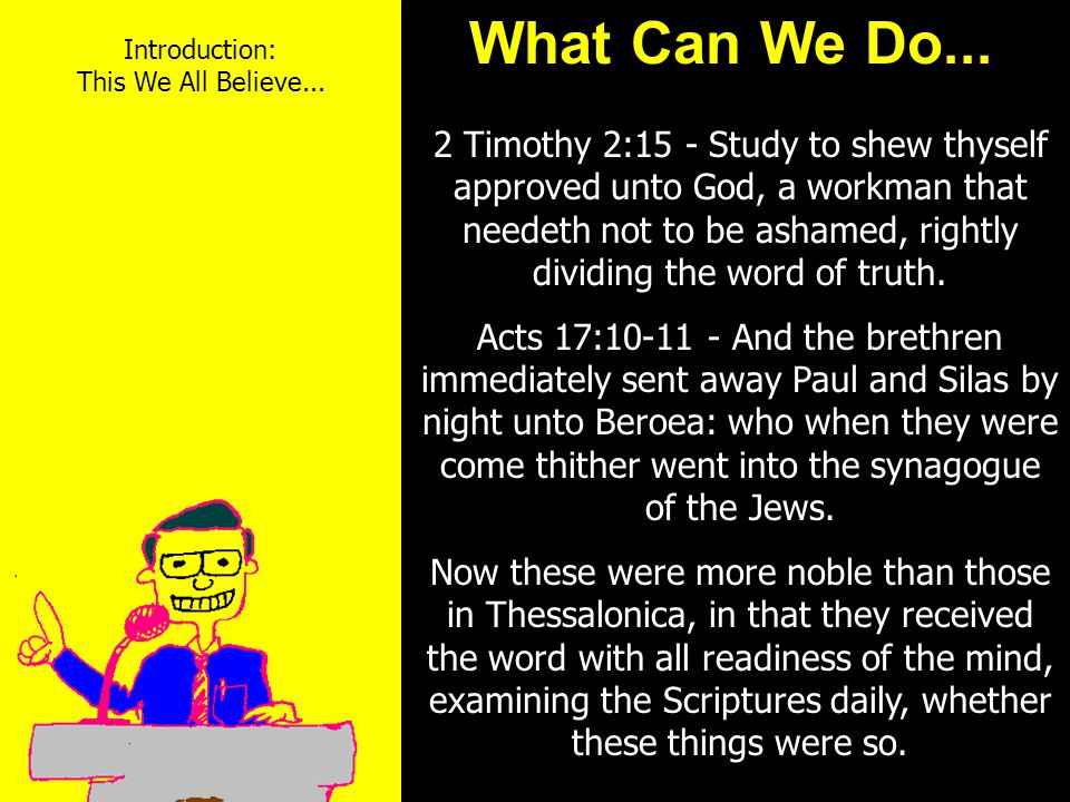 11am How to Call 11:15am Discussion 12pm Summary + Methodist Discipline = Methodist Christian + Catechism = Roman Catholic Christian + Westminister Confession = Presbyterian Christian + 39 Articles of Faith = Episcopalian Christian + Book of Mormon = Mormon Christian + Nothing - Nothing = Christian