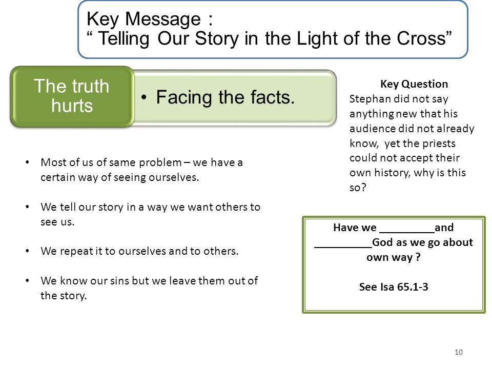 "Key Message : "" Telling Our Story in the Light of the Cross"" Facing the facts. The truth hurts 10 Key Question Stephan did not say anything new that h"