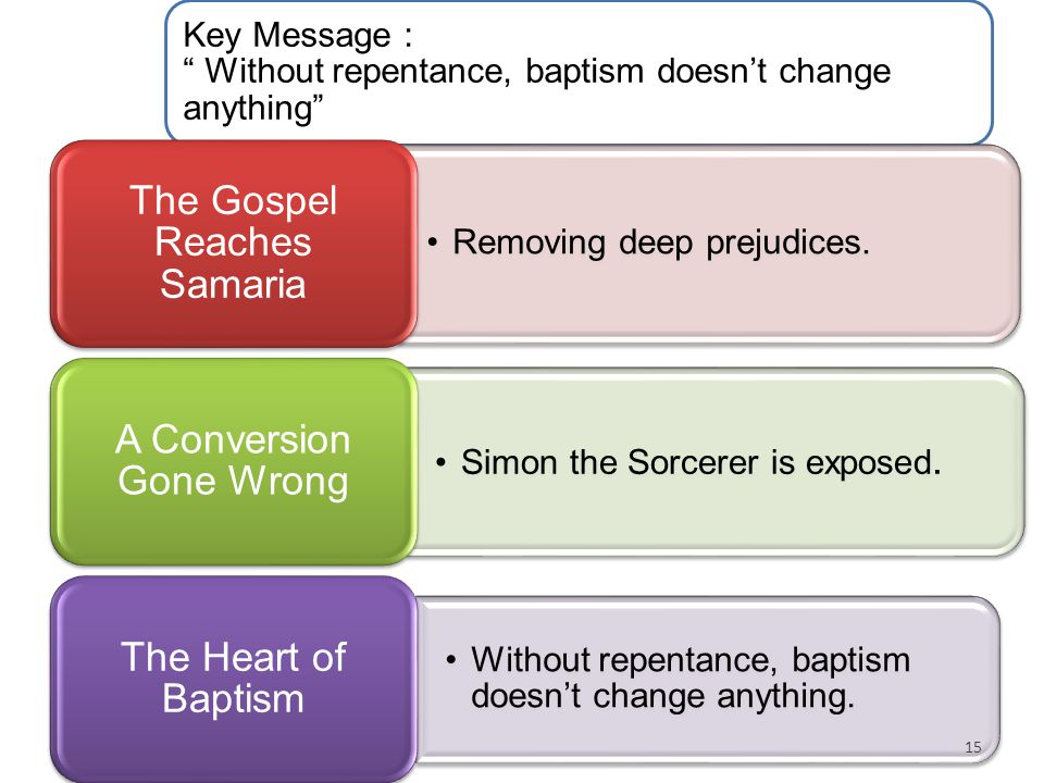 "Key Message : "" Without repentance, baptism doesn't change anything"" Removing deep prejudices. The Gospel Reaches Samaria Simon the Sorcerer is expose"