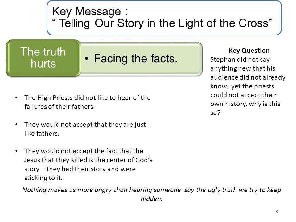 "Key Message : "" Telling Our Story in the Light of the Cross"" Facing the facts. The truth hurts 9 Key Question Stephan did not say anything new that hi"
