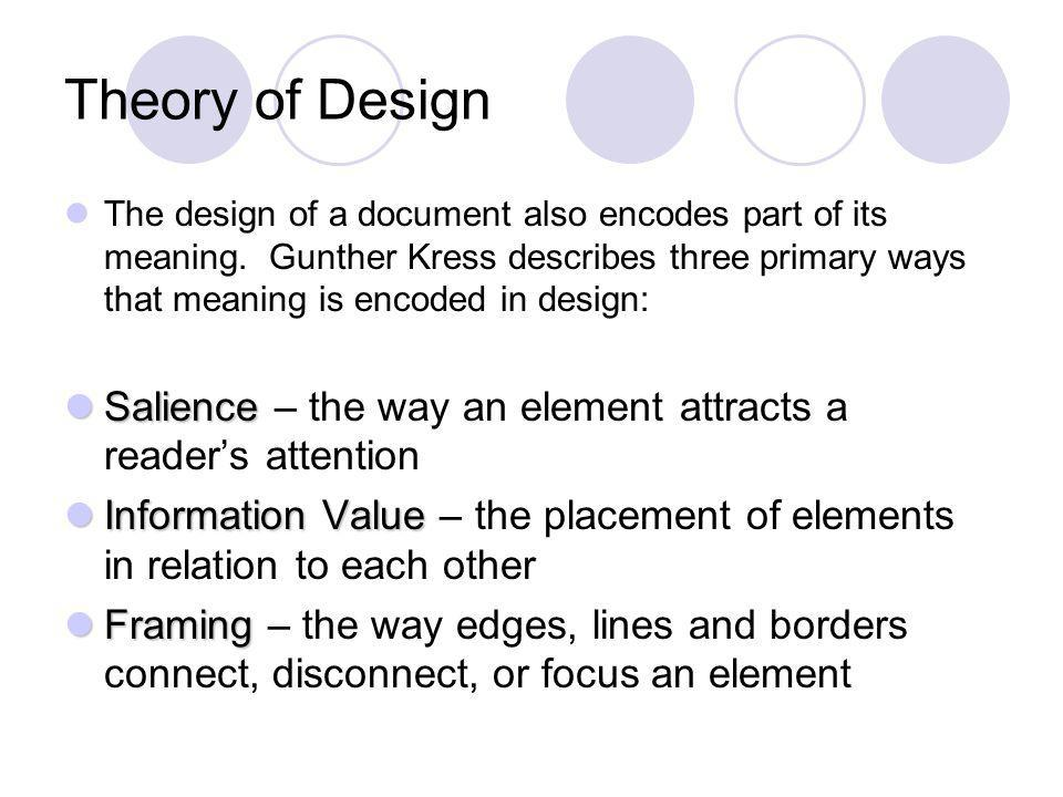 Theory of Design The design of a document also encodes part of its meaning.