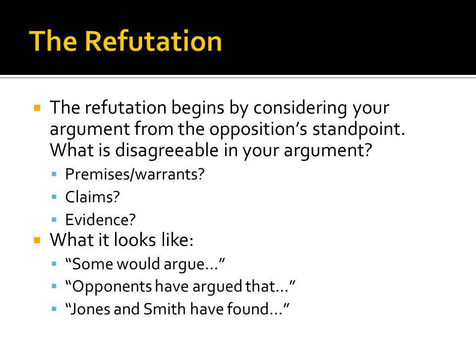  The refutation begins by considering your argument from the opposition's standpoint.