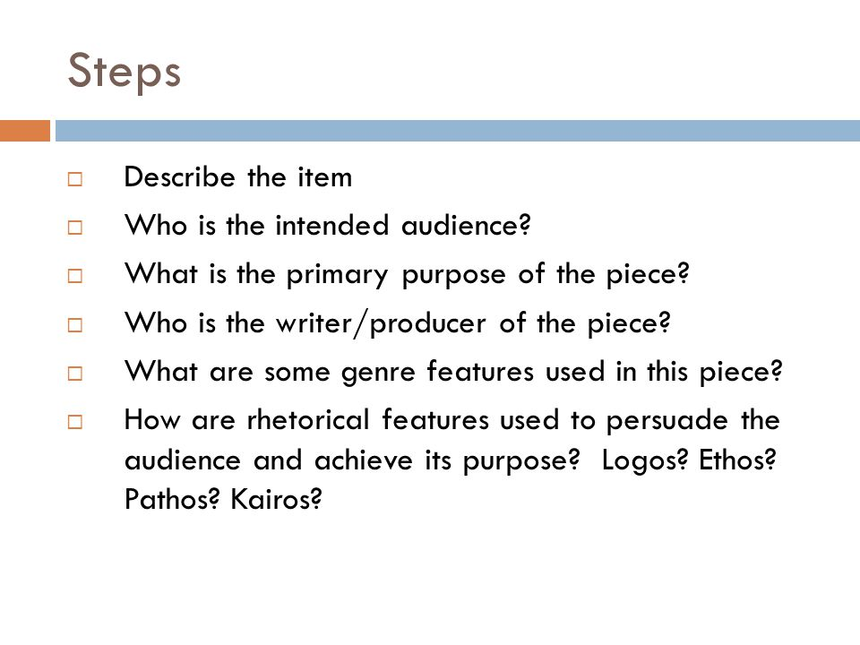 Let's begin with Audience  In a given rhetorical situation, there are three audiences: intended, actual, and invoked.