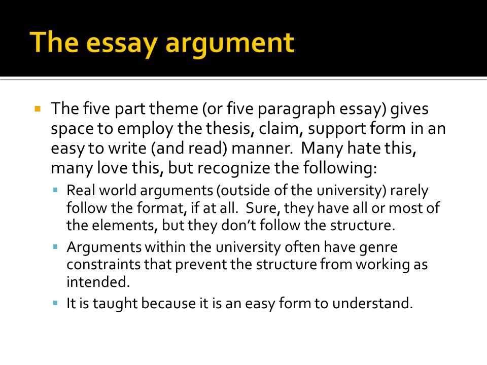  The five part theme (or five paragraph essay) gives space to employ the thesis, claim, support form in an easy to write (and read) manner.