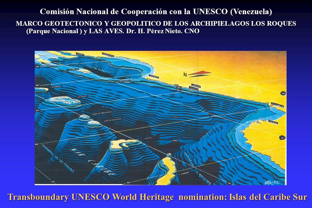 Comisión Nacional de Cooperación con la UNESCO (Venezuela) MARCO GEOTECTONICO Y GEOPOLITICO DE LOS ARCHIPIELAGOS LOS ROQUES (Parque Nacional ) y LAS A