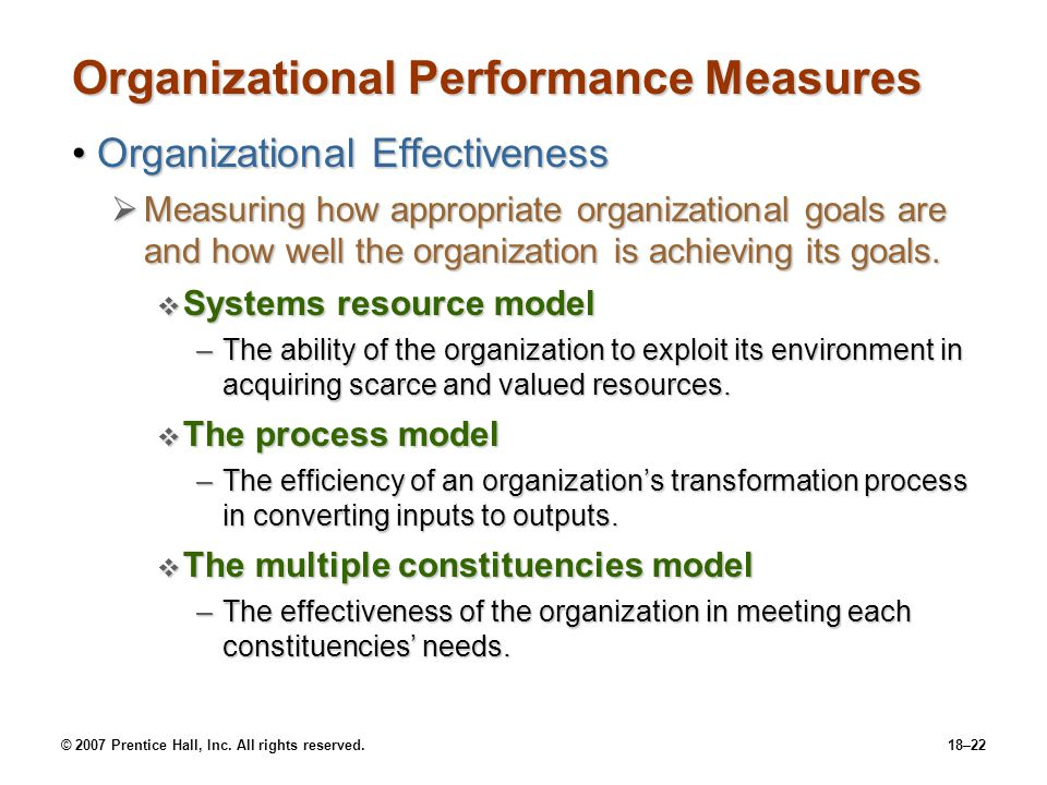 © 2007 Prentice Hall, Inc. All rights reserved.18–22 Organizational Performance Measures Organizational EffectivenessOrganizational Effectiveness  Me
