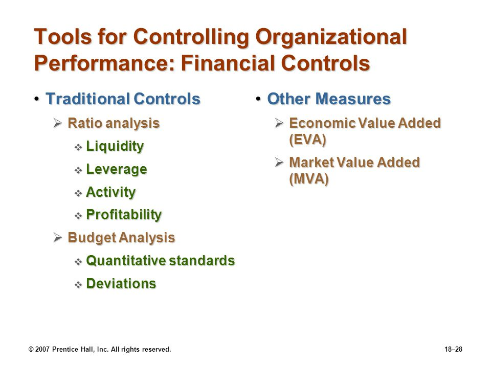 © 2007 Prentice Hall, Inc. All rights reserved.18–28 Tools for Controlling Organizational Performance: Financial Controls Traditional ControlsTraditio