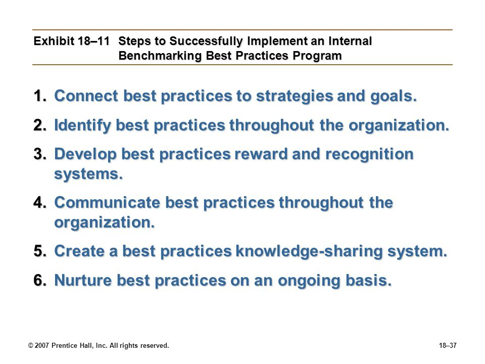 © 2007 Prentice Hall, Inc. All rights reserved.18–37 Exhibit 18–11Steps to Successfully Implement an Internal Benchmarking Best Practices Program 1.Co