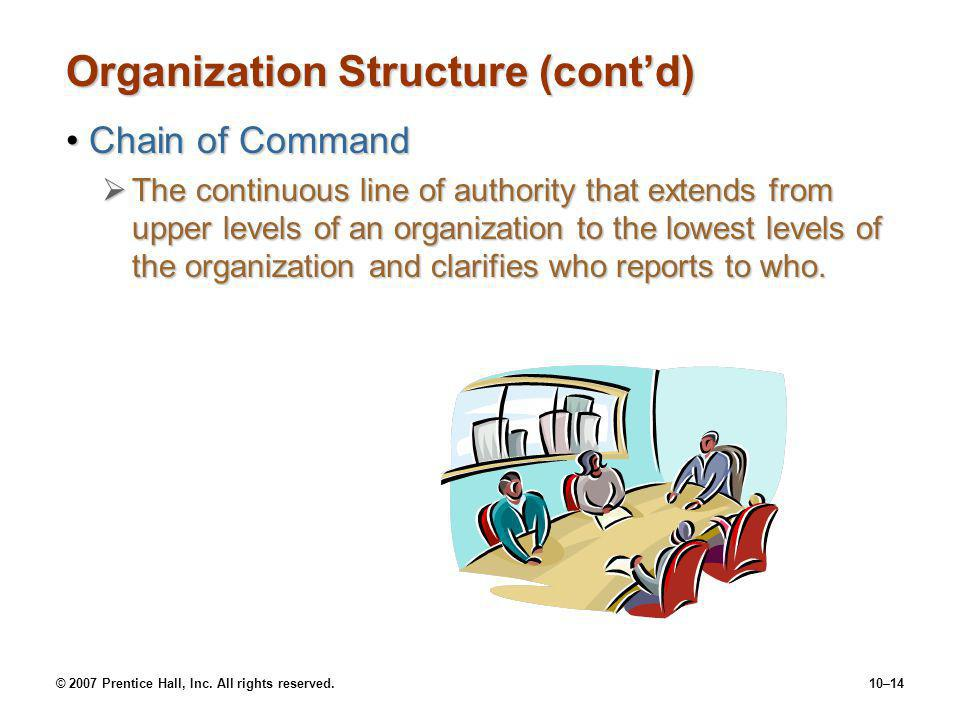 © 2007 Prentice Hall, Inc. All rights reserved.10–14 Organization Structure (cont'd) Chain of CommandChain of Command  The continuous line of authori