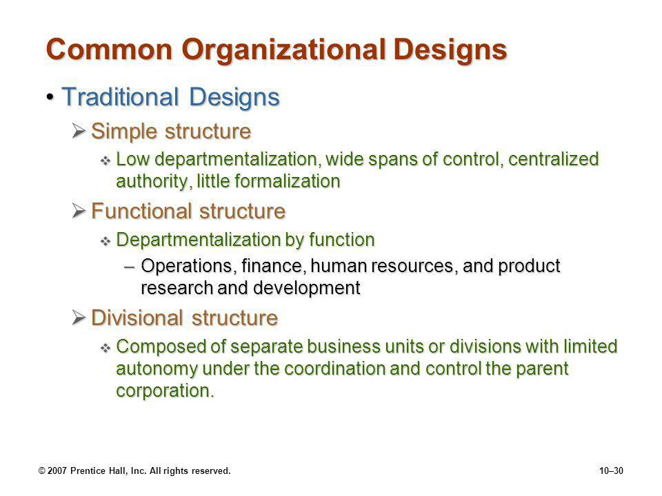 © 2007 Prentice Hall, Inc. All rights reserved.10–30 Common Organizational Designs Traditional DesignsTraditional Designs  Simple structure  Low dep