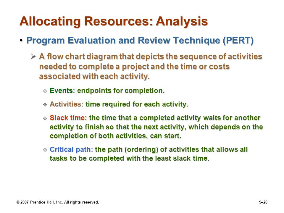 © 2007 Prentice Hall, Inc. All rights reserved.9–20 Allocating Resources: Analysis Program Evaluation and Review Technique (PERT)Program Evaluation an