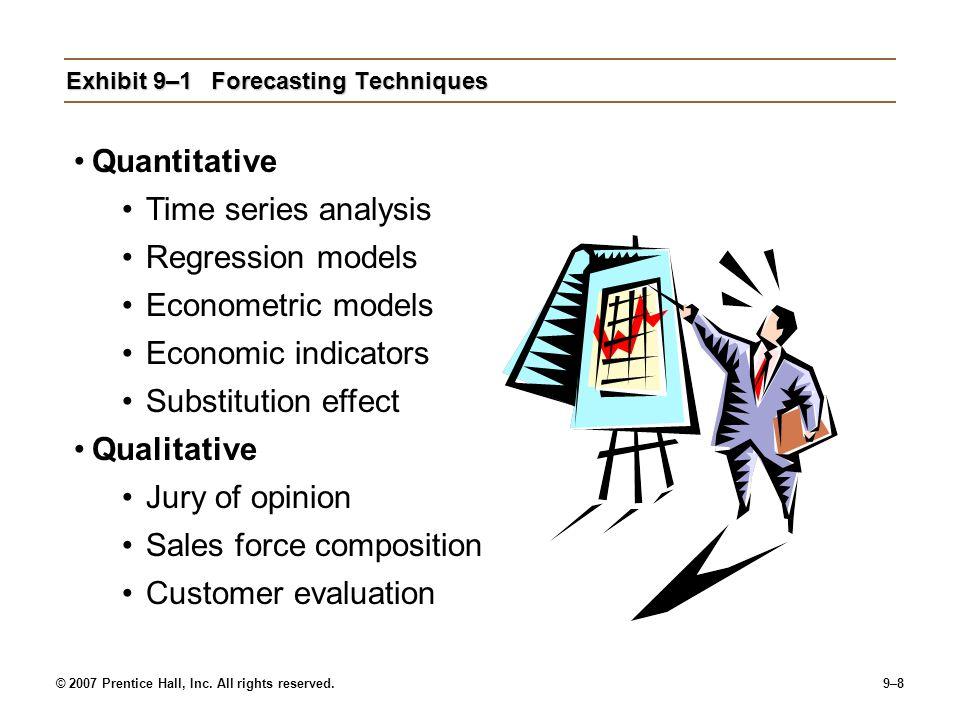© 2007 Prentice Hall, Inc. All rights reserved.9–8 Exhibit 9–1Forecasting Techniques Quantitative Time series analysis Regression models Econometric m
