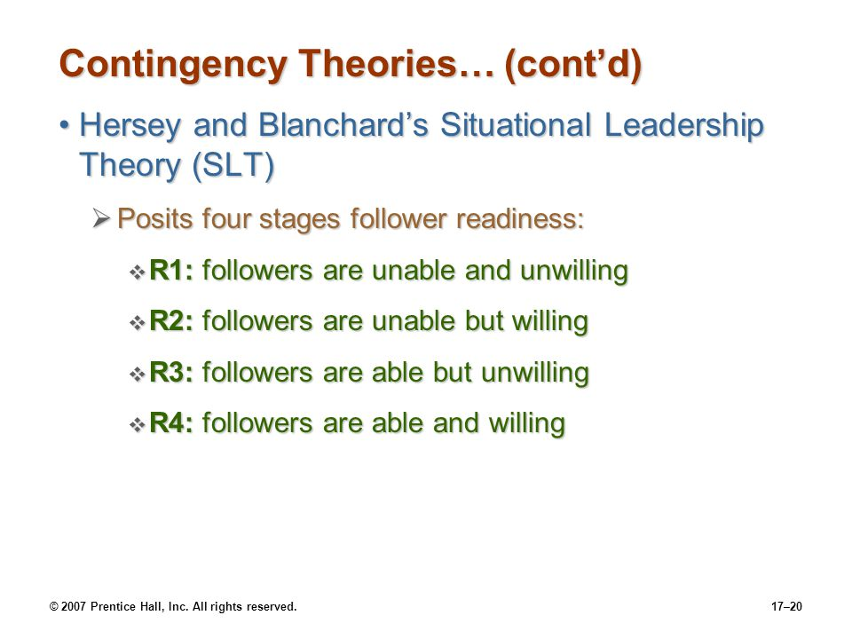 © 2007 Prentice Hall, Inc. All rights reserved.17–20 Contingency Theories… (cont'd) Hersey and Blanchard's Situational Leadership Theory (SLT)Hersey a