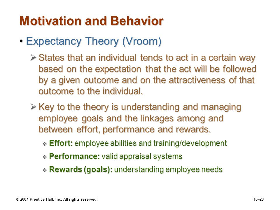 © 2007 Prentice Hall, Inc. All rights reserved.16–28 Motivation and Behavior Expectancy Theory (Vroom)Expectancy Theory (Vroom)  States that an indiv