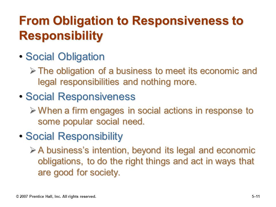 © 2007 Prentice Hall, Inc. All rights reserved.5–11 From Obligation to Responsiveness to Responsibility Social ObligationSocial Obligation  The oblig