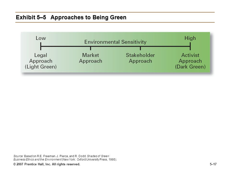 © 2007 Prentice Hall, Inc. All rights reserved.5–17 Exhibit 5–5Approaches to Being Green Source: Based on R.E. Freeman. J. Pierce, and R. Dodd. Shades