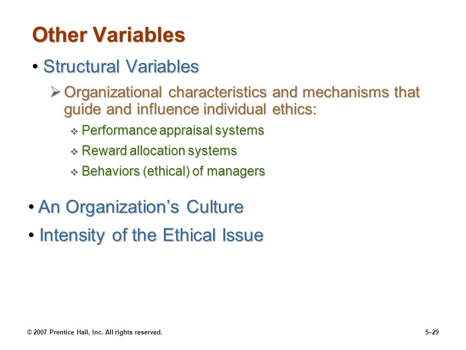 © 2007 Prentice Hall, Inc. All rights reserved.5–29 Other Variables Structural VariablesStructural Variables  Organizational characteristics and mech