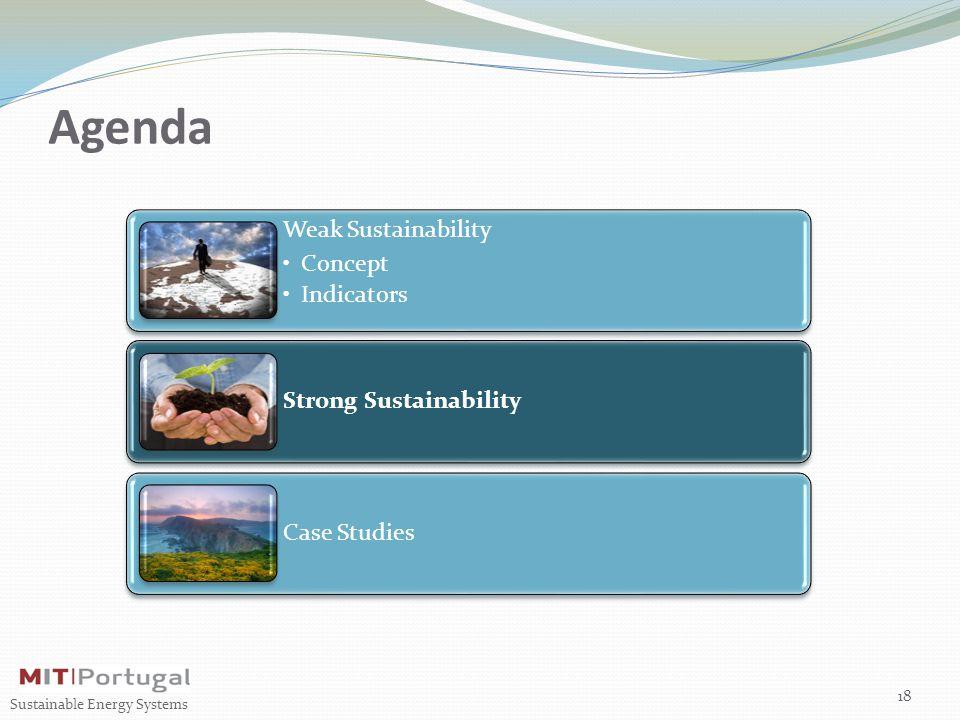Agenda Weak Sustainability Concept Indicators Strong Sustainability Case Studies 18 Sustainable Energy Systems