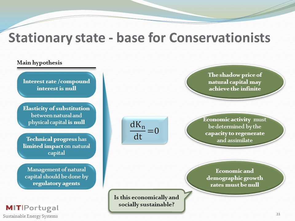 Stationary state - base for Conservationists 21 Sustainable Energy Systems Interest rate /compound interest is null Elasticity of substitution between natural and physical capital is null Technical progress has limited impact on natural capital Management of natural capital should be done by regulatory agents Main hypothesis Economic and demographic growth rates must be null Economic activity must be determined by the capacity to regenerate and assimilate The shadow price of natural capital may achieve the infinite Is this economically and socially sustainable