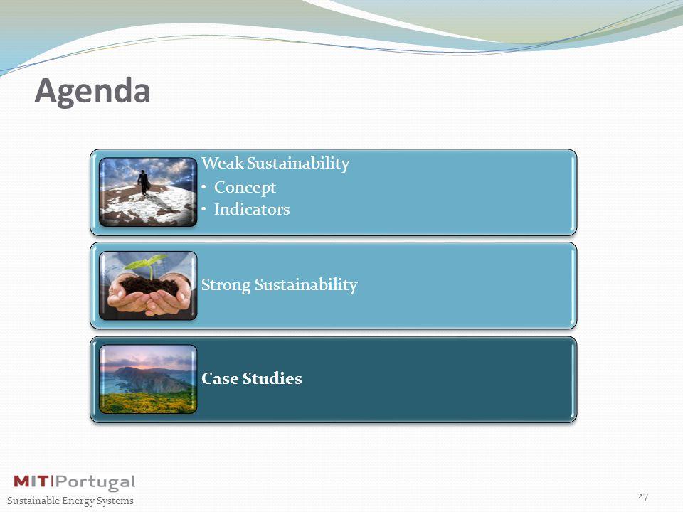 Agenda Weak Sustainability Concept Indicators Strong Sustainability Case Studies 27 Sustainable Energy Systems