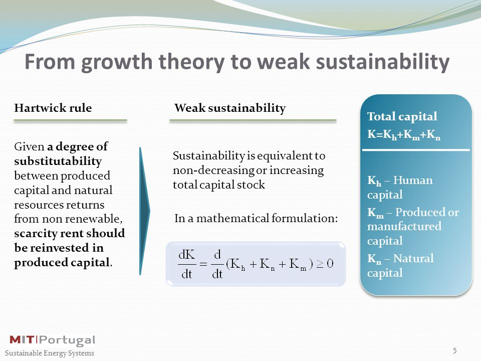 From growth theory to weak sustainability Hartwick rule 5 Sustainable Energy Systems Weak sustainability Given a degree of substitutability between produced capital and natural resources returns from non renewable, scarcity rent should be reinvested in produced capital.