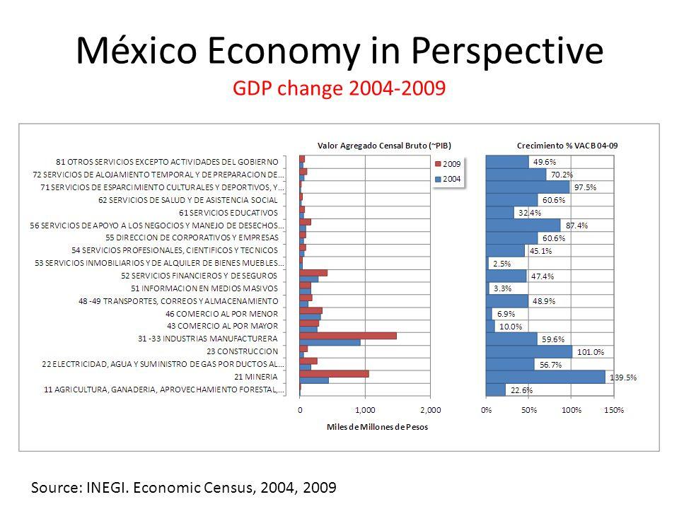 México Economy in Perspective GDP change 2004-2009 Source: INEGI. Economic Census, 2004, 2009