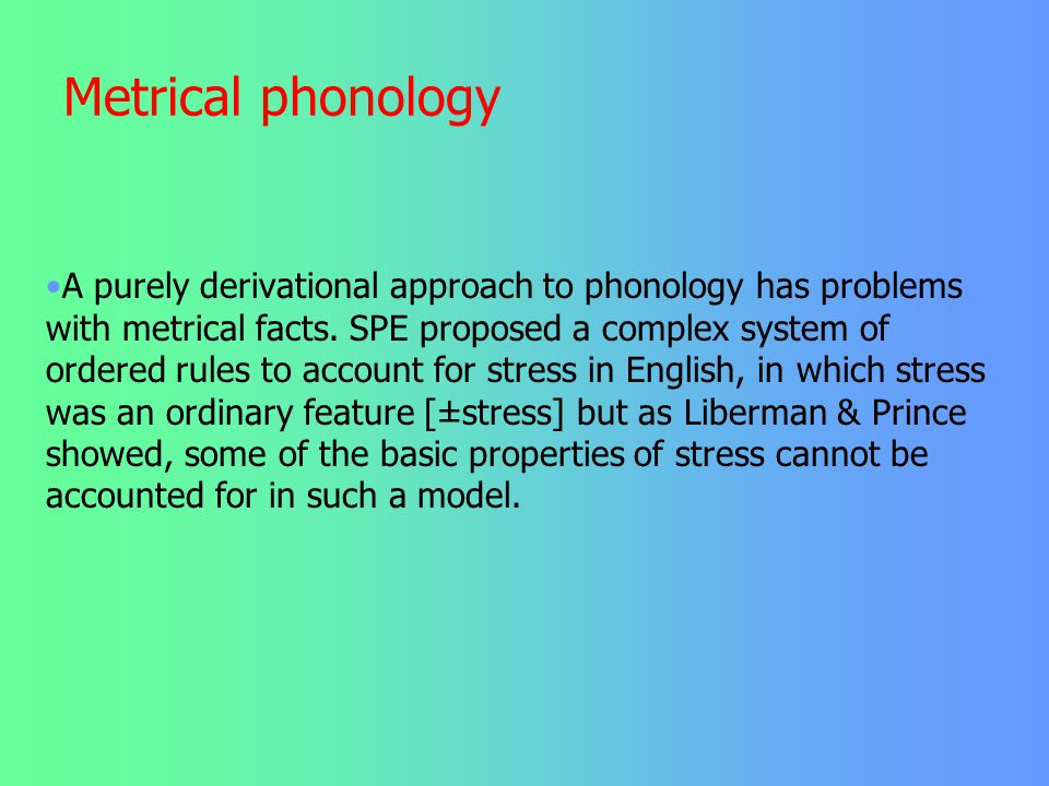 Metrical phonology This requirement is conflicting with the requirement that all syllables have the structure CV. To produce good iambs, French length