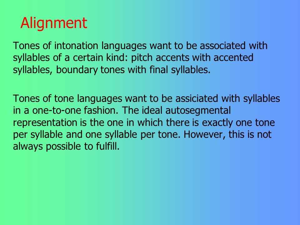 Kind of conflicts found in phonology 3. Alignment and other requirements The last kind of conflict that will be mentioned today has to do with alignme