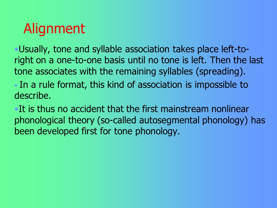 Alignment Melodies, say HLH or HL, have been shown by Goldsmith, Leben, Williams and others to exist independently of words. And of course, words exis
