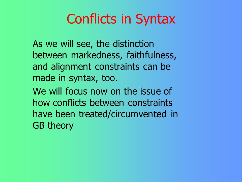 Conflict Resolution Plan of Today's Presentation 1. Discuss conflict resolution as rule ordering 2. Introduce types of conflicts 3. Discuss the disgui
