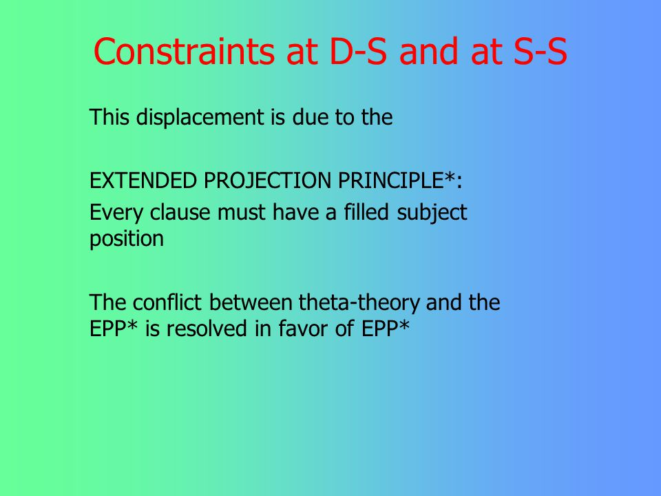 Constraints at D-S and at S-S But in a passive, the semantic object placed in front of the subject position he was invited _ by Mary and in a raising