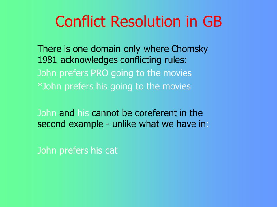 Preliminary Summary GB-theory tries to avoid acknowledging the existence of conflict between constraints by - postulating invisible elements (traces,