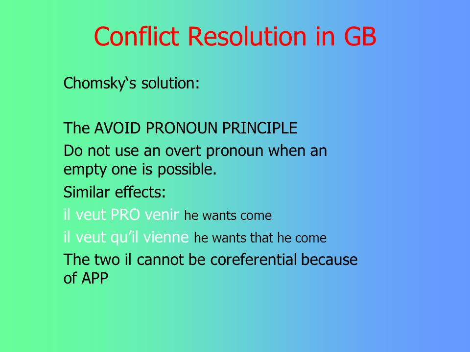 Conflict Resolution in GB There is one domain only where Chomsky 1981 acknowledges conflicting rules: John prefers PRO going to the movies *John prefe