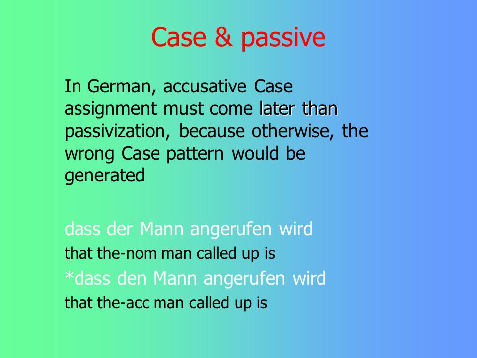 Case & wh-Movement This looks like intrinsic rule order in phonology... Note however that noun phrases sometimes (have to) pick up Case after wh-movem