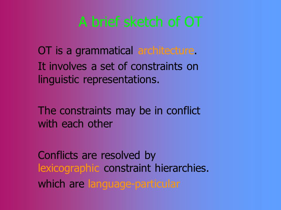 The Plan for Today 1.A brief sketch of OT 2.Brief introduction of the issue: representational (constraint related) or derivational accounts.