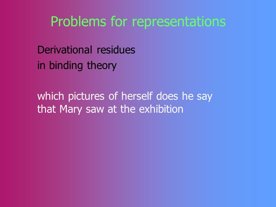Problems for representations Derivational residues in Case theory wem hast du gesagt dass er meint dass er hilft who-dat have you said that he thinks that he helps wen hast du gesagt dass er meint dass er unterstützt who-acc have you said that he thinks that he supports