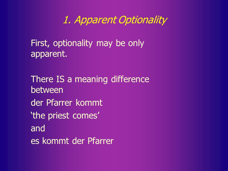 Solutions 1. Optionality is only apparent 2. Identity of profiles 3.