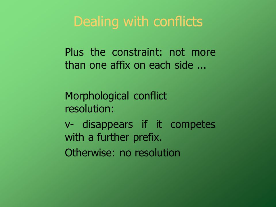 Dealing with conflicts Plus the constraint: not more than one affix on each side...