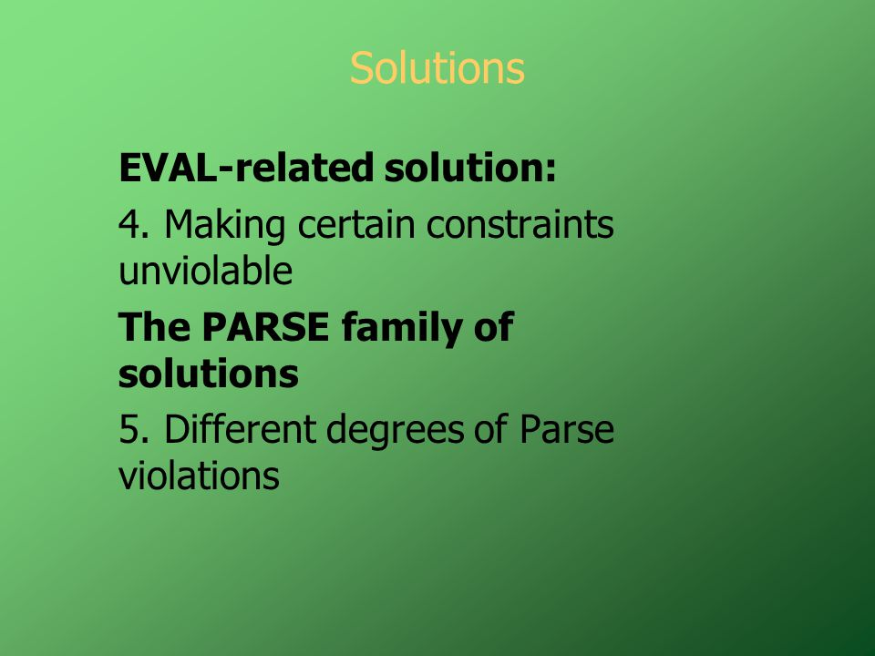 Solutions EVAL-related solution: 4.