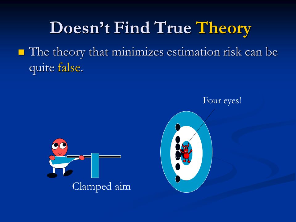Doesn't Find True Theory Doesn't Find True Theory The theory that minimizes estimation risk can be quite false. The theory that minimizes estimation r