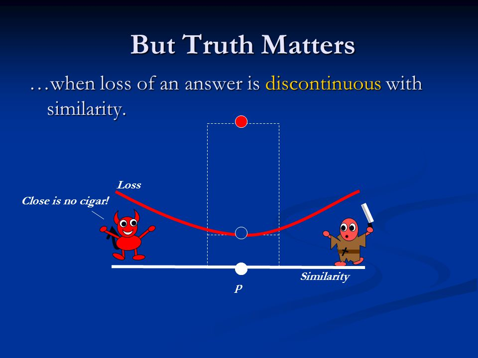 But Truth Matters But Truth Matters …when loss of an answer is discontinuous with similarity. Similarity p Close is no cigar! Loss