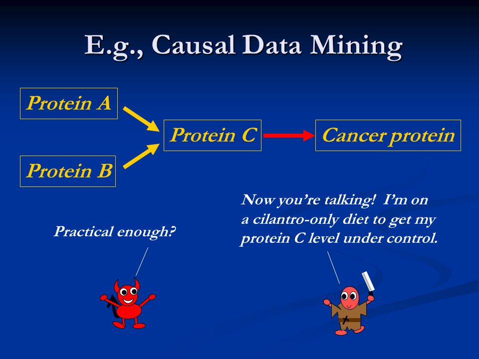 E.g., Causal Data Mining E.g., Causal Data Mining Protein A Protein B Protein CCancer protein Practical enough? Now you're talking! I'm on a cilantro-