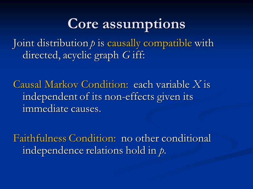 Joint distribution p is causally compatible with directed, acyclic graph G iff: Causal Markov Condition: each variable X is independent of its non-eff