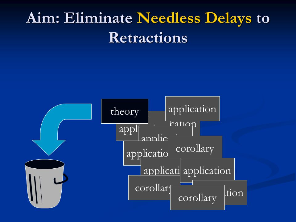 application corollary application theory application corollary application corollary Aim: Eliminate Needless Delays to Retractions