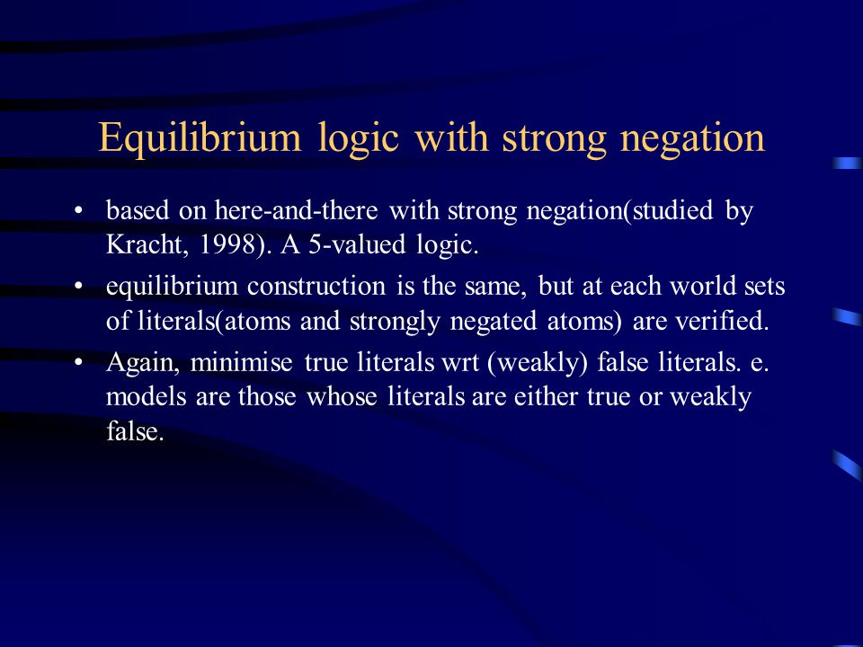 Equilibrium logic with strong negation based on here-and-there with strong negation(studied by Kracht, 1998).