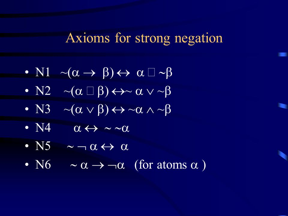 Axioms for strong negation N1 ~(  N2 ~(  ~  ~  N3 ~(  ~  ~  N4  N5  N6  (for atoms  )