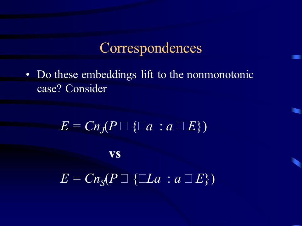 Do these embeddings lift to the nonmonotonic case.