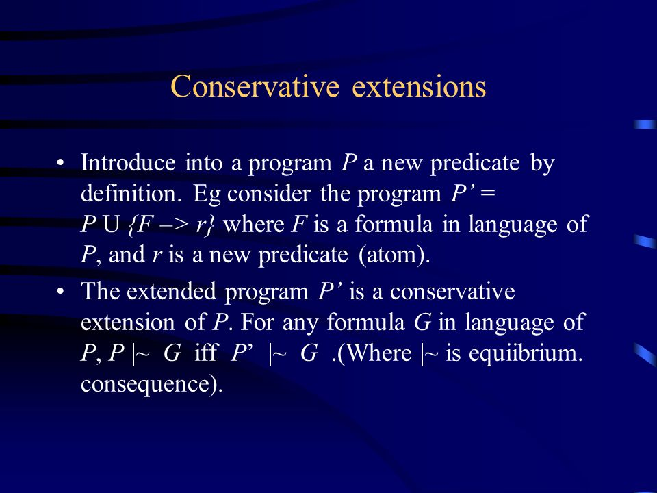 Conservative extensions Introduce into a program P a new predicate by definition.